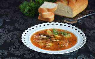 Суп с килькой в томате