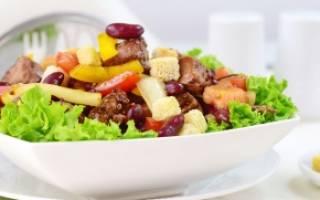 Салат из фасоли с куриной печенкой рецепт