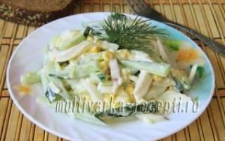 Салат из кальмаров с кукурузой