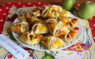 Слоеное дрожжевое тесто с яблоками рецепт