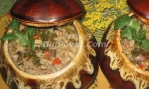 Гречка с сердечками и грибами в горшочках рецепт