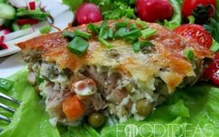 Рыба в омлете с овощами (в духовке)