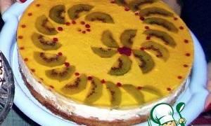 Торт с творожным кремом и фруктовым желе