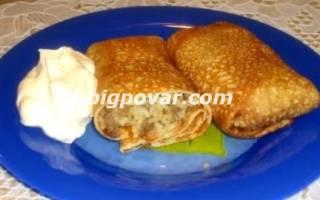 Блины на кефире, фаршированные яйцом, рисом и луком рецепт