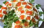Салат «Рог изобилия» с икрой, креветками и семгой рецепт