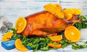 Запеченный гусь с апельсином