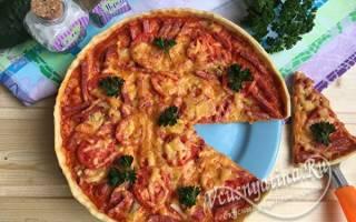 Пицца с грибами колбасой и сыром рецепт