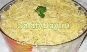 Салат из курицы с грибами и сыром рецепт