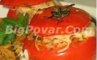 Фаршированные помидоры в духовке «Праздничные» рецепт