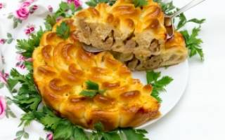 Мясной пирог хризантема рецепт