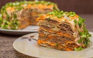 Блинный торт с печенью рецепт