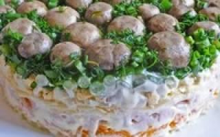 Салат грибная поляна с шампиньонами рецепт